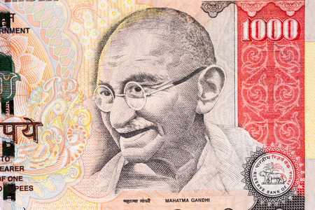 The portrait of Gandhi on a one-thousand Indian rupee note  Stock Photo