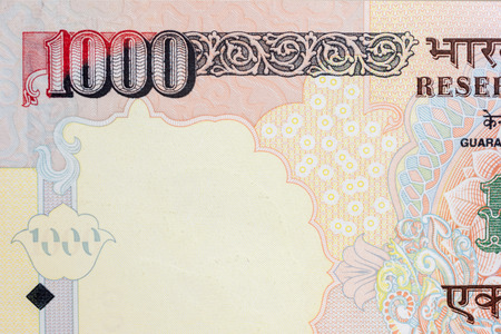 Close-up of an Indian one thousand rupee note