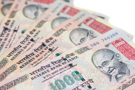 A fan of one thousand rupee notes in Indian Currency Stock Photo - 29860240