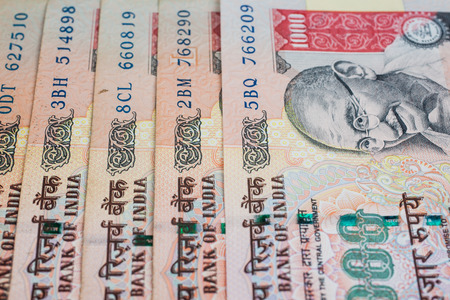 A fan of one thousand rupee notes  Indian Currency   Stock Photo