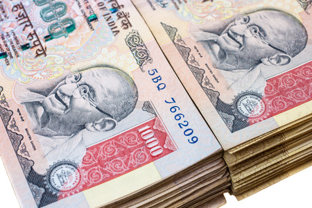 Thick stacks of thousand rupee notes  Indian