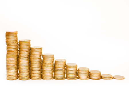 Conceptual graph  Stacks of gold coins isolated on white