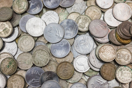 A pile of loose change  rupees   Stock Photo