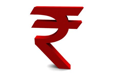 The Indian rupee symbol isolated on a white background