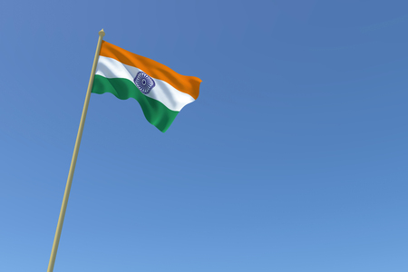 The National Flag of India Waving in the Wind.