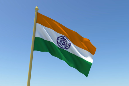 The national flag of India waving in the wind