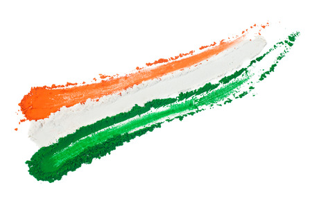 The colors of the indian flag painted in a smear.