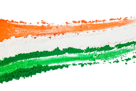 national flag: The colors of the indian flag painted in a smear.
