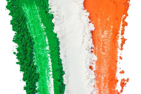 indian ink: The colors of the indian flag painted in a smear.