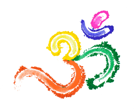 An Om symbol painted with vibrant colors