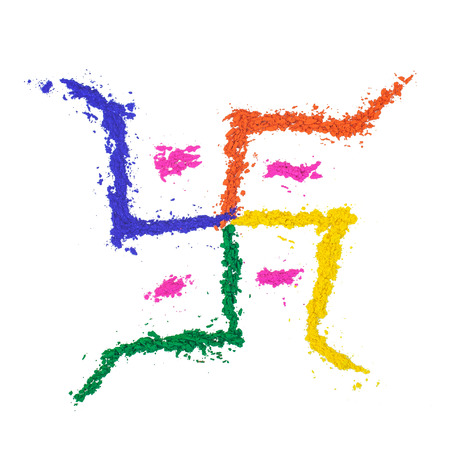 swastik: The auspicious swastika of India painted with dye powder and isolated on white.