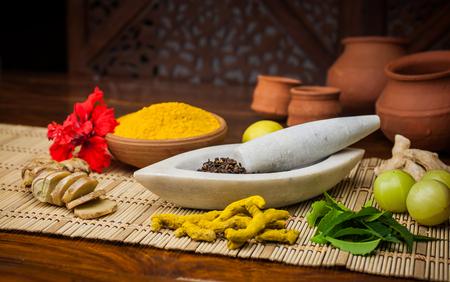 mortero: Una selección de ingredientes naturales dispuesto en y alrededor de un mortero de mármol y una maja.