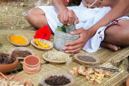A young man preparing ayurvedic medicine in the traditional manner. Banque d'images