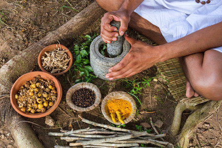 A young man preparing ayurvedic medicine in the traditional manner. Archivio Fotografico