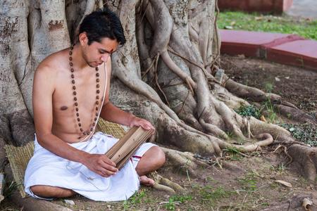 vedas: A young brahmin reads an ancient Hindu text under a banyan tree.