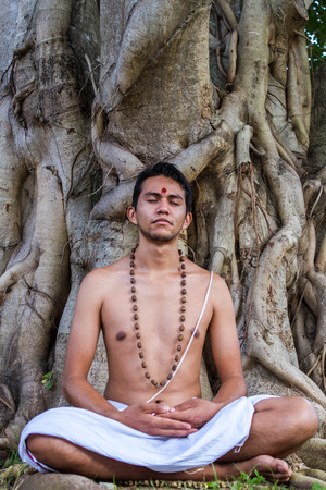 dhyana: A young Hindu brahmin sits in meditation under a banyan tree.