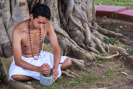 ayurvedic: A young man preparing ayurvedic medicine in the traditional manner. Stock Photo