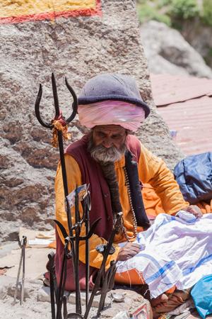 BADARINATH - INDIA, JUNE 5th - An old sadhu at the temple of Badarinath in North India on June 5th 2013