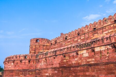 uttar: The walls and battlements of the Agra fort built by the Mughals in the Indian State of Uttar Pradhesh.