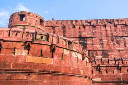 mughal empire: The walls and battlements of the Agra fort built by the Mughals in the Indian State of Uttar Pradhesh.