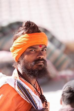 sadhu: GANGOTRI, INDIA - MAY 23rd - A young sadhu outside the shrine of Goddess Ganga at Gangotri on 23ed May 2013 Editorial