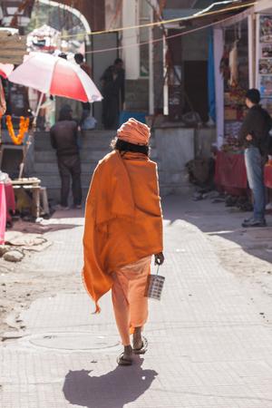 sadhu: A  sadhu in th streets at Gangotri Stock Photo