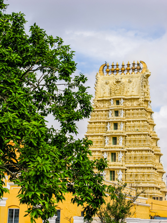mysore: South Indian Temple to Goddess Chamundi on Chamundi hill in the Mysore area of South India.