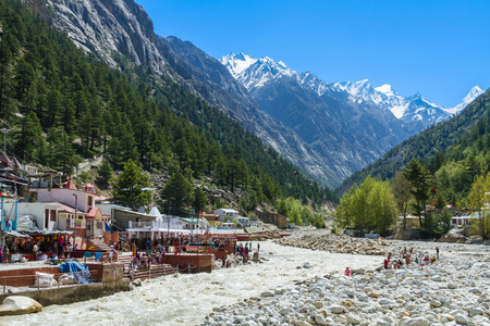devi: The temple town of Gangotri in the Indian Himalayas near the source of the sacred river Ganges. Stock Photo