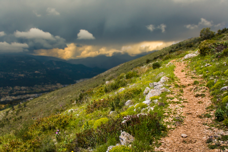 A trail into the French alps Stock Photo