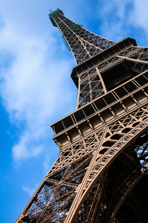 The Eiffel Tower of France shot from below.