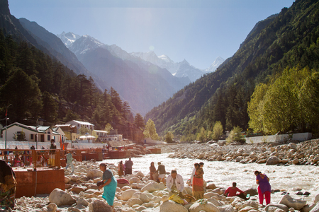 dome of hindu temple: Gangotri, Uttarakhand - CIRCA May 2013 - Hindu pilgrims on the banks of the Ganges RIver,  Gangotri, circa May 2013.