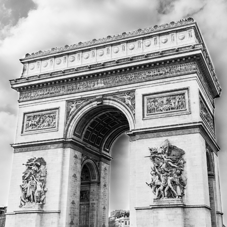 Arc de Triomphe, Paris, France -in black and white Stock Photo
