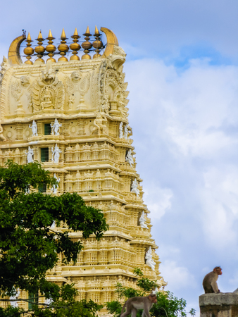 South Indian Temple to Goddess Chamundi on Chamundi hill in the Mysore area of South India.
