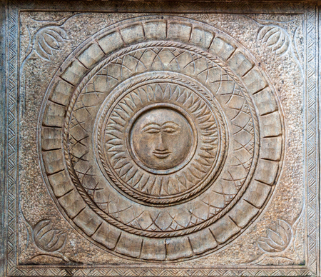 A carving of the sun at the Kelaniya temple in Sri Lanka.