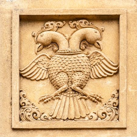 doubleheaded: A carving of a double-headed eagle at the Kelaniya temple in Sri Lanka.