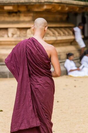Kelaniya, Sri Lanka, May 8th  2016 - A Buddhist monk at the Kelaniya temple in Sri Lanka.