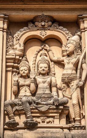 A carving of the demon-king Vibhishana at the Kelaniya temple in Sri Lanka.