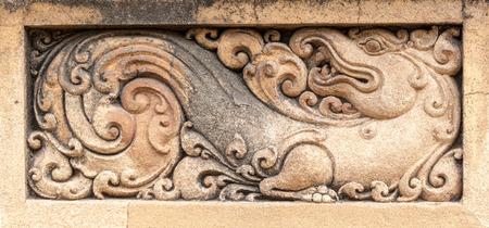 Carvings of a Makara, a mythical creature, at the Kelaniya temple in Sri Lanka.