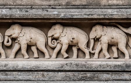 Carvings of elephants at the Kelaniya temple in Sri Lanka.