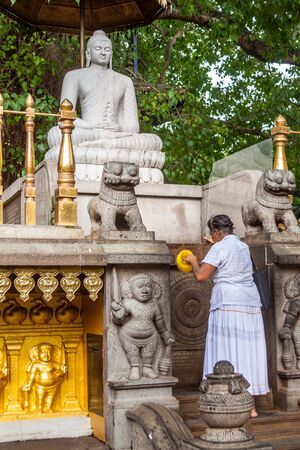 hymn: An old woman worshipping Buddha at Kelaniya, Sri Lanka Editorial