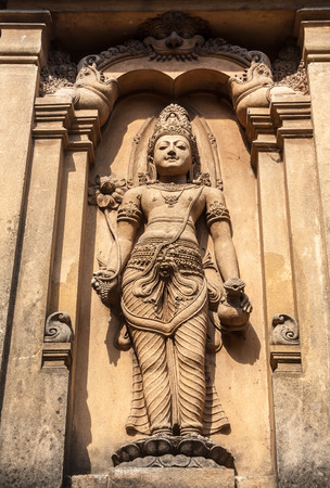 A carving of maitreya, the future Buddha, in Kelaniya, Sri Lanka.