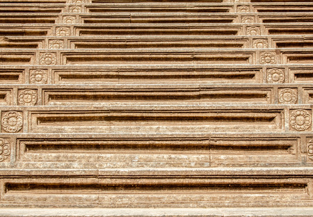 vihara: A flight of stone steps at Kelaniya, Sri Lanka