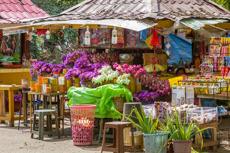 Kelaniya, Sri Lanka, May 8th  2016 - Shops selling flowers at Kelaniya, Sri Lanka