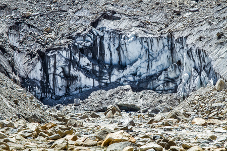 The Gaumukh glacier - source of the Ganges river in Uttarakhand India. Stock Photo