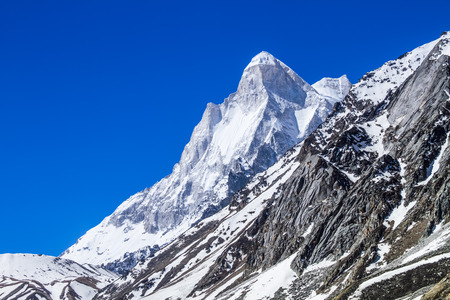 Mount Shivaling in the Indian Himalayas as visible from the Ganges Glacier valley.