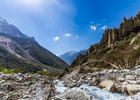 The Ganges river flowing down the Gangotri valley in Uttarakhand India. Stock Photo