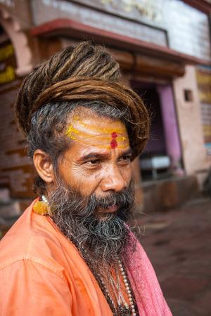 HARIDWAR, INDIA - AUGUST 10 - A Hindu Saint attends the Ardha-mela on August 10th 2010 at Haridwar, India.