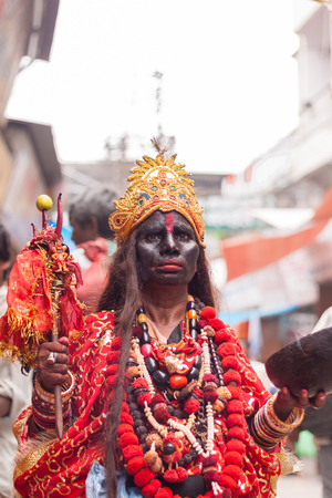 HARIDWAR INDIA, AUGUST 10th A Hindu dressed as Kali, the Goddess of Death in the holy city of Haridwar on 10th August 2010 Editorial