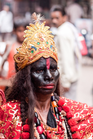 devotee: HARIDWAR INDIA, AUGUST 10th A Hindu dressed as Kali, the Goddess of Death in the holy city of Haridwar on 10th August 2010 Editorial