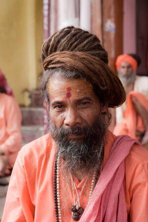 ardha: HARIDWAR, INDIA - AUGUST 10 - A Hindu Saint attends the Ardha-mela on August 10th 2010 at Haridwar, India.